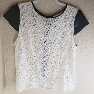Kensie white lace top vegan leather sleeve PL